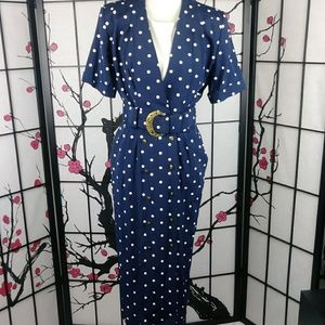 Vtg Katie MFG Dress Polka Dot Belted Power Suit